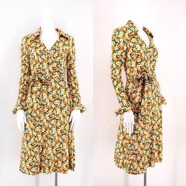 70s DVF floral print classic wrap dress 4 / 1970s vintage Diane Von Furstenberg yellow green sash tie dress size 4 by ritualvintage