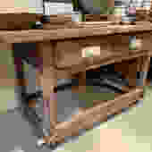 Antique workbench w/ drawer on casters5'2