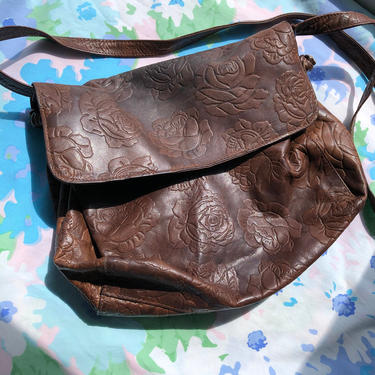 Vintage 70s Leather Purse, Brown Tooled Genuine Leather Rose Pattern Bag by Florenzo Italian Influence by AMORVINTAGESHOP
