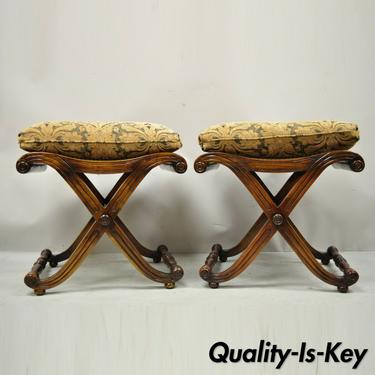 Italian Regency Style Mahogany Cane Curule X-Frame Stools with Cushions - a Pair