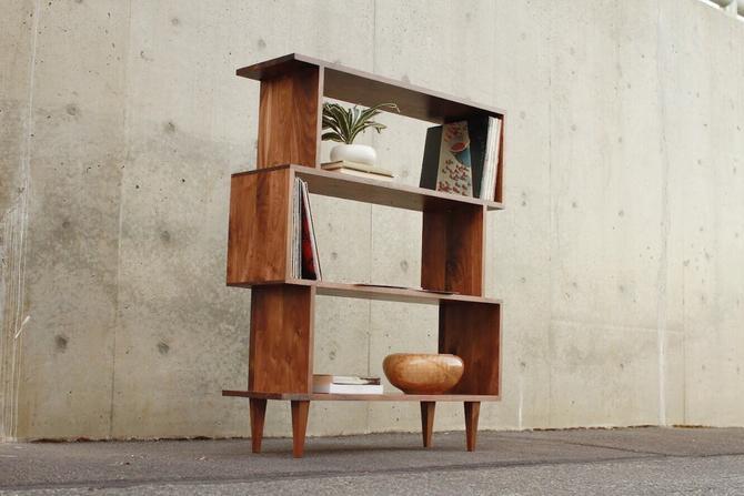 4-Tier Offstack Bookcase, Mid-Century Modern, Vinyl LP Storage (Shown in Walnut) by TomfooleryWood