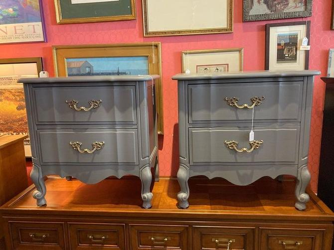 """Two gray painted French provincial nightstands. 24.5"""" x 15.5"""" x 24.5"""""""