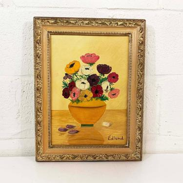 Vintage Framed Floral Original Painting Art Wildflowers Flower Wood Frame Painted 3D Amateur Painter Hobbyist Hobby Wall Decor by CheckEngineVintage