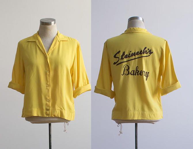 Vintage Bowling Shirt / Embroidered Bowling Shirt / Vintage Chain Stitched Shirt / Vintage Bowling Shirt / King Louie Bowling Shirt / Yellow by milkandice