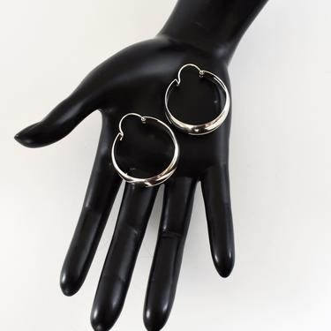 Classic 70's wide cut out sterling hippie hoops, big 925 silver open pointed ovals geometric boho statement earrings by BetseysBeauties