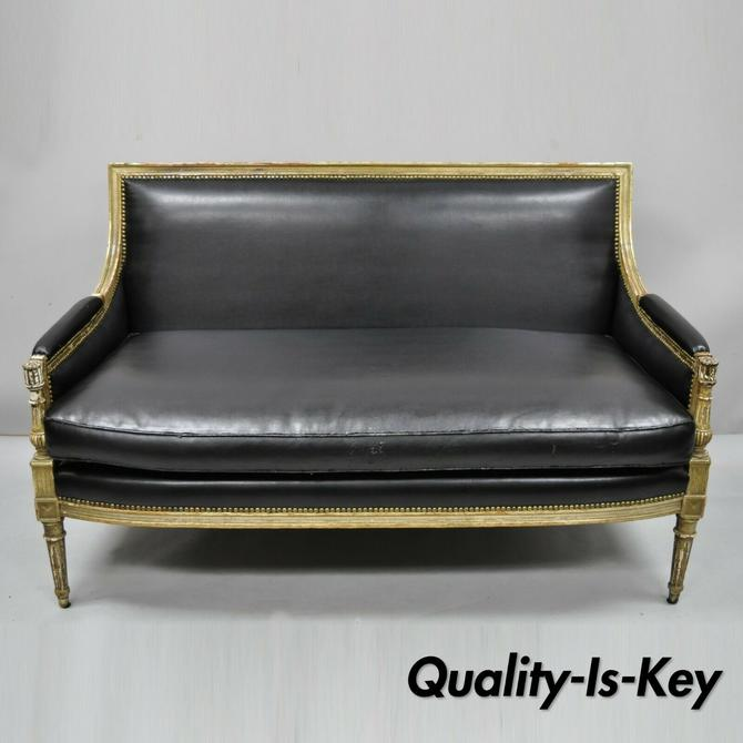 French Louis XVI Maison Jansen Style Distress Paint Parcel Gilt Settee Loveseat