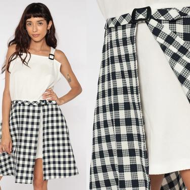 Mod Mini Dress 60s Mini Plaid SCOOTER Dress Drop Waist 70s Checkered Vintage Sleeveless Black Off-White Minidress School Girl Medium Large by ShopExile