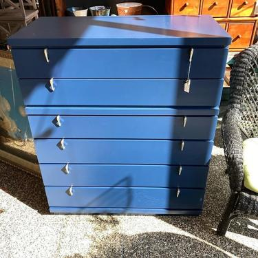"""Navy blue painted mid century chest of drawers, silver angles pulls. 6 drawers. 36"""" x 18"""" x 44"""""""