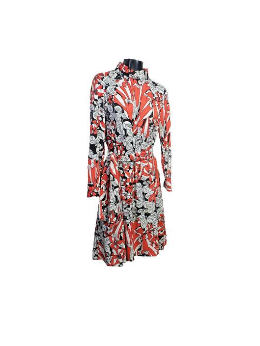 Vintage ANIKA Abstract Mod Dress, 1960's Floral Graphic Belted Dress, Mid Century Long Sleeve Mockneck, New York Stockholm, Vintage Clothing by AGoGoVintage