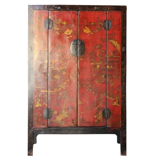 Chinese Vintage Red Golden Scenery Armories  Storage Cabinet cs4988S