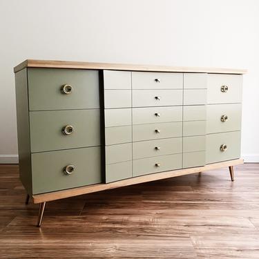 Mid Century Modern Sage Green Dresser by madenewdesignct