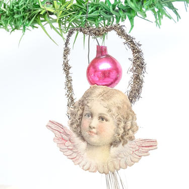 Early 1900's Victorian Angel Scrap Christmas Ornament, Antique  Mercury Glass and Tinsel, Vintage Decor by exploremag