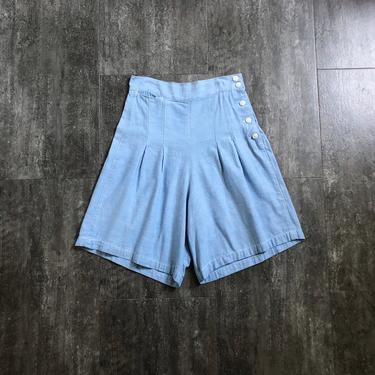 1940s chambray shorts . vintage 30s 40s shorts by BlueFennel
