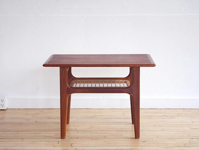 Trioh Teak & Cane Side Table