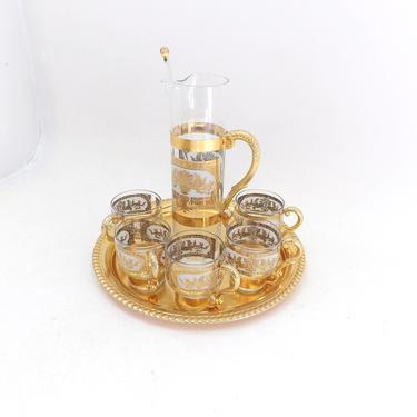 Mid Century Modern Culver Whiskey Glasses Bar Set Tumblers With Glass Pitcher 22 kt. Gold Barware Bar Cart  Tumbler Set Prado Culver LTD. by MakingMidCenturyMod