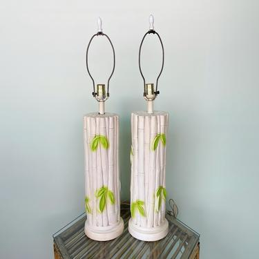 Pair of Faux Bamboo Leaf Lamps