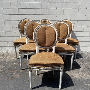 6 Antique Dining Chairs Louis XVI Chair Country French Provincial Burlap Cane Fluted Shabby Chic Hollywood Regency Carved Wood Vintage by DejaVuDecors