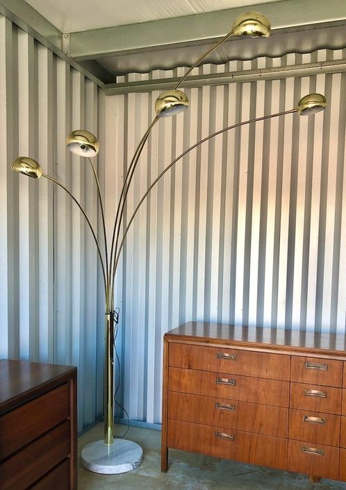 Vintage Brass & Marble Arc Floor Lamp 1970s
