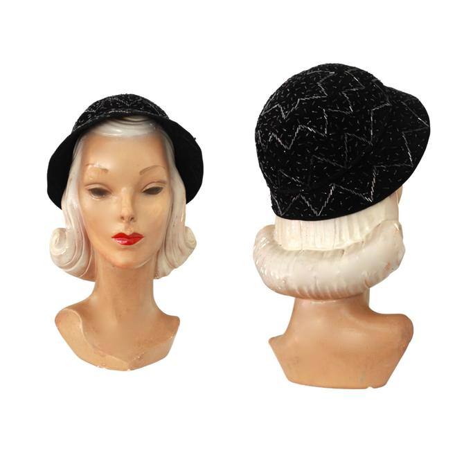 1950s Black Sequin Detailed Cloche Hat - 1950s Black Sequin Hat - 1950s Black Cloche Hat - Vintage Black Cloche Hat - 1950s Cocktail Cloche by VeraciousVintageCo