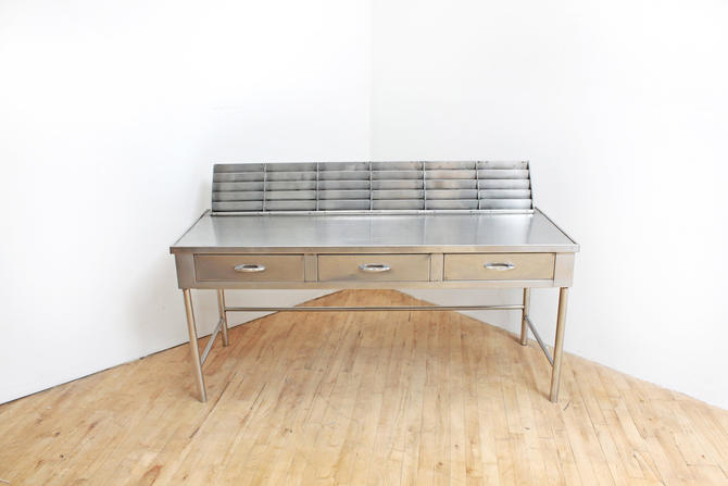 Mid Century Medical Lab Desk Stainless Steel Console Table Industrial Vintage Filing Organizer by 330ModernAntique