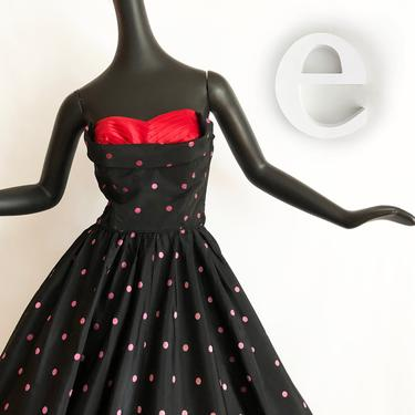 Polka Dot Rockabilly Dress   Vintage 50s Pin Up Bombshell Prom Party Gown   Black Pink Dots with Red Bust Full Circle Skirt   Nautical   SM by elliemayhems