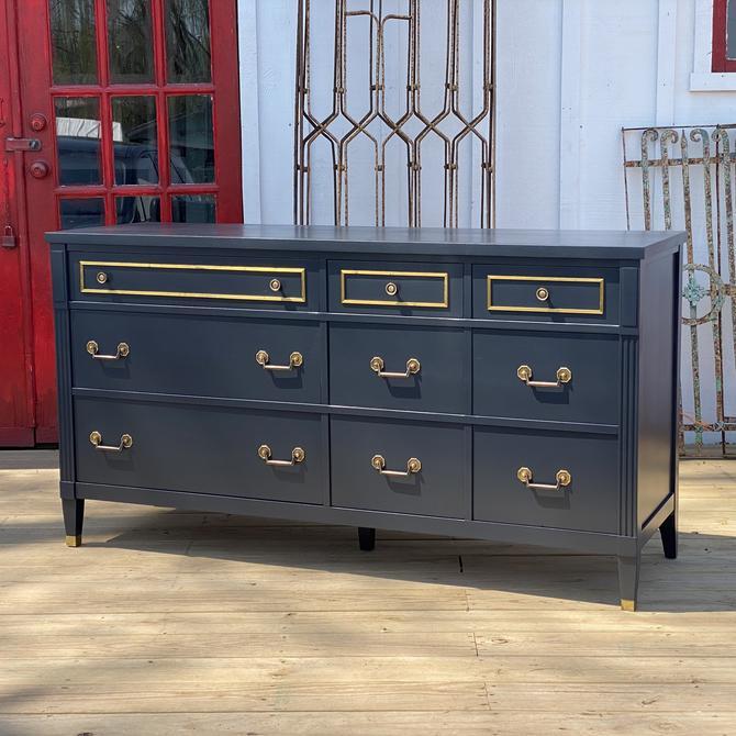 Navy and Brass Vintage Dresser