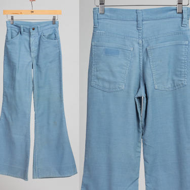 Vintage Corduroy Kids Bell Bottoms - Size 14 | Retro 80s Blue Flared Junior Trousers by FlyingAppleVintage