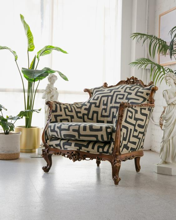 French Parlor Chair in Geometric Fabric