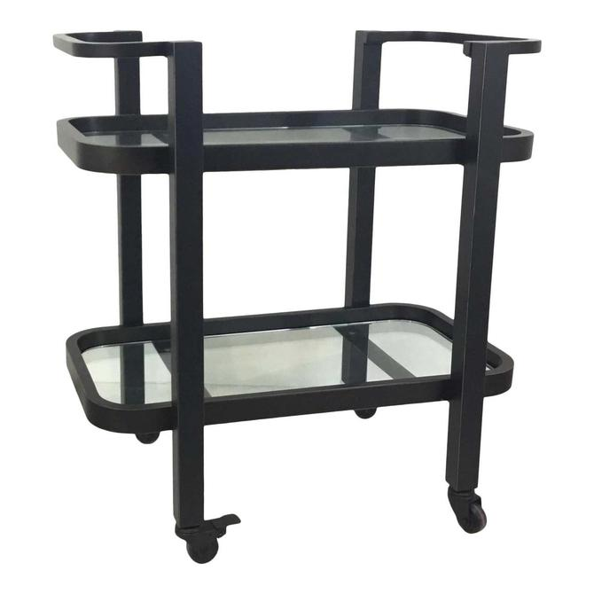 Regina Andrew Modern Glass and Bronze Finished Two-Tier Carter Bar Cart