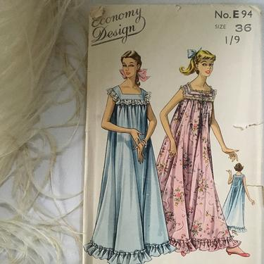 Vintage Nightgown Sewing Pattern Economy Design E94, Size 36, UNCUT by luckduck