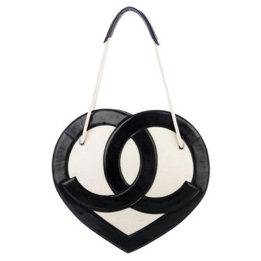 Vintage CHANEL HEART CC Logo Monogram XLarge White Terry Black Leather Tote Bag Carryall by MoonStoneVintageLA