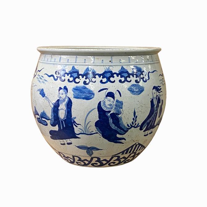 Chinese Blue White Oriental Immortal People Scenery Porcelain Pot ws1408E by GoldenLotusAntiques