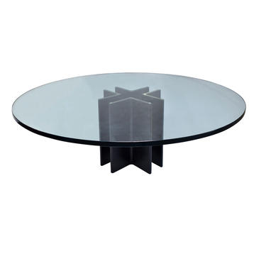 Ronald Schmitt Coffee Table in Black Steel with Glass Top 1970s