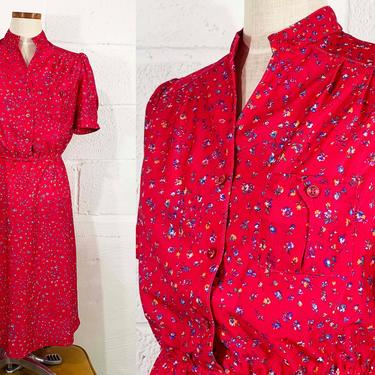 Vintage Pink Floral A-Line Dress 80s 1980s Avon Fashions Hot Summer Short Sleeve Wedding Bridesmaid Large Medium by CheckEngineVintage