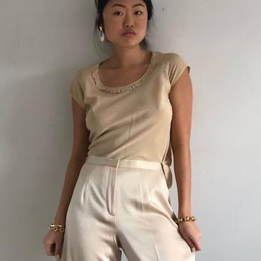 90s silk crepe blouse tee / vintage champagne silk scoop neck capped raglan sleeve blouse / bias cut blouse   S M by RecapVintageStudio