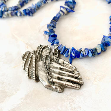 Statement Necklace, Sodalite Beads, Natural Stones, Praying Hands Pendant, The Lords Prayer, Religious, Padre Nuestro, Vintage by GabAboutVintage