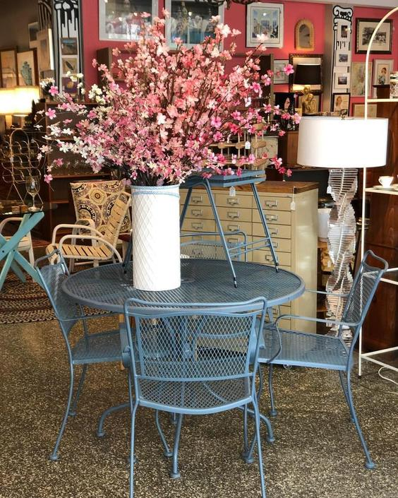 Blue garden set : table and 4 chairs $295