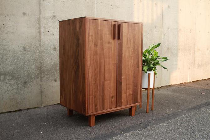 Floor Cabinet, 2 Door, Two Door Accent Cabinet, Modern 2 Door Cabinet, Solid Hardwood Cabinet with 2 Doors (Shown in Walnut) by TomfooleryWood