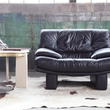 CHIC 1980s Post Modern Upholstered Large Nicholas Salotti Plinth Lounge Chair Loveseat Sofa McM Durot Kagan Springer Mod Baughman MEMPHIS by CatchMyDriftVintage