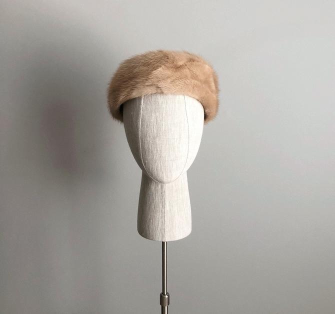 Vintage 60s Light Brown Mink Pillbox Hat by VintageChicVa