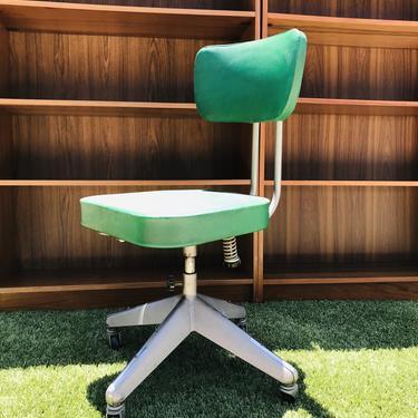 Vintage Green Tanker rolling Desk Chair