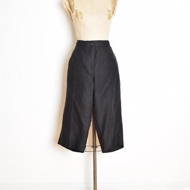 vintage 90s bermuda shorts black linen shorts pants high waisted Talbots XL XXL clothing by huncamuncavintage
