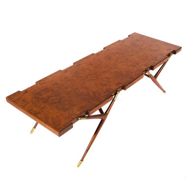 Ico Parisi Sculptural Coffee Table in Burled Walnut with Brass Fittings 1950s