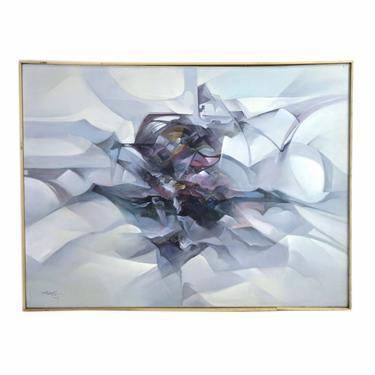 Vintage Mid-Century Modern Abstract Oil Painting Waves of Jewel Tones by PrairielandArt