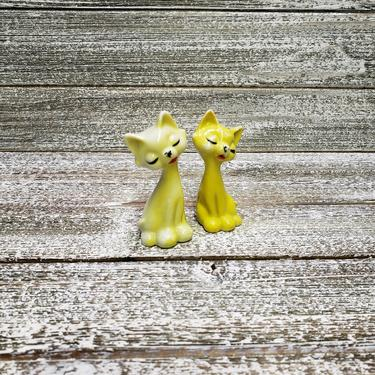 Vintage Cat Figurines, Bright Yellow Cats, Retro Cat Decor, Tall Sitting Kitty Cats, Vintage Cat Lover Collectible, Vintage Home Decor by AGoGoVintage