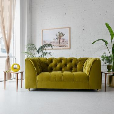 Lime Green Tufted Love Seat