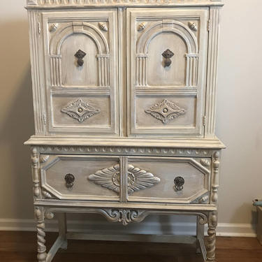SOLD-Custom Order for Amy - Gorgeous Jacobean Cabinet / China Hutch by FrenchTwistAntiques