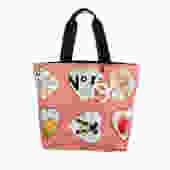 Vintage CHANEL CC Logo Mania Monogram Fabric Coco Heart VALENTINES Valentine Print Handbag Tote Shoulder Purse Carryall w Charm by MoonStoneVintageLA