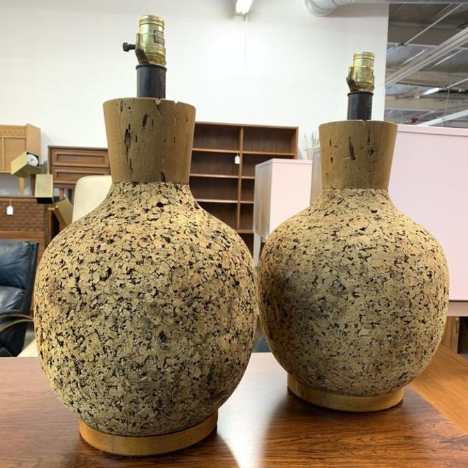 Mid Century Vintage Cork Lamps- a Pair by VintageOnPoint