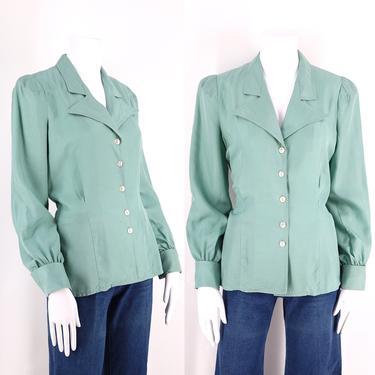 70s JEFF BANKS silk sage green bishop peasant sleeve blouse top / 1970s vintage England uk 14  US 10-12 by ritualvintage